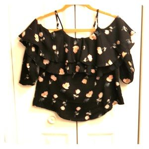 Tops - Black blouse with flower pattern